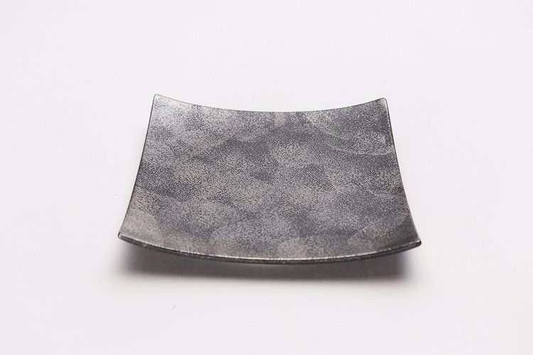 金善窯 正角菓子皿(小) いぶし銀散 画像メイン