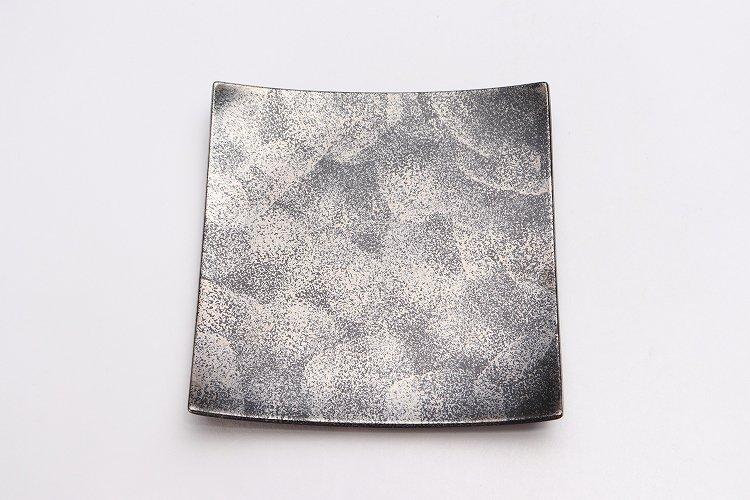 金善窯 正角菓子皿(小) いぶし銀散 画像サブ2