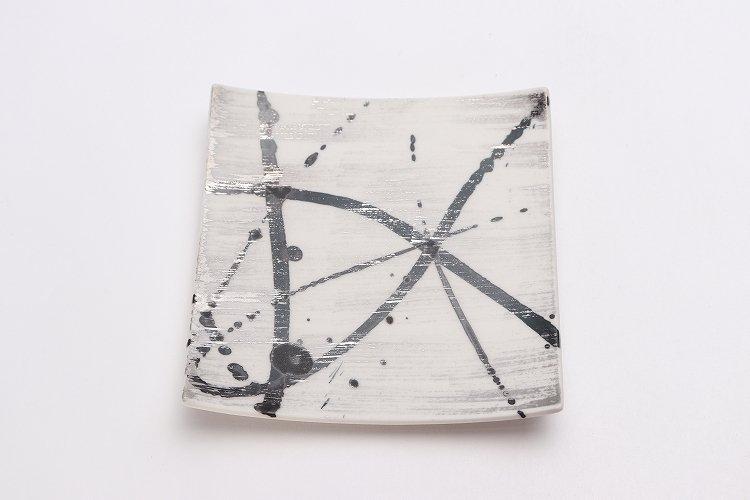 金善窯 正角菓子皿(小) ミスト黒飛ばし銀刷毛 画像サブ2