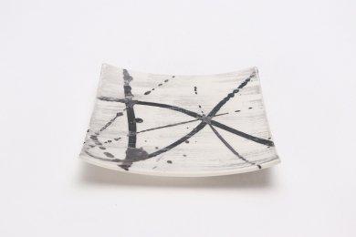 金善窯 正角菓子皿(小) ミスト黒飛ばし銀刷毛