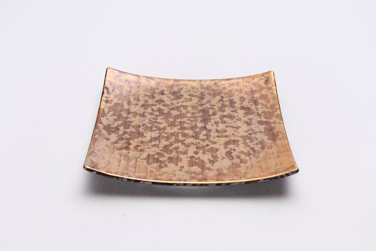 金善窯 正角菓子皿(小) ウロコ金 画像メイン