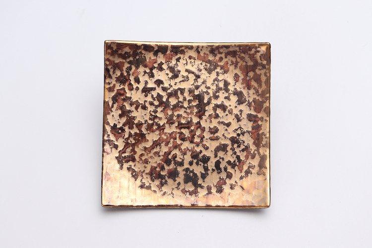 金善窯 正角菓子皿(小) ウロコ金 画像サブ2