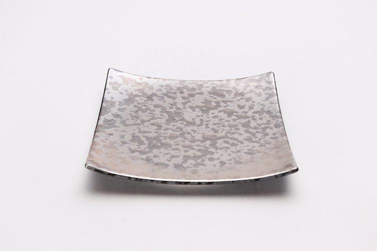 金善窯 正角菓子皿(小) ウロコ銀 画像メイン
