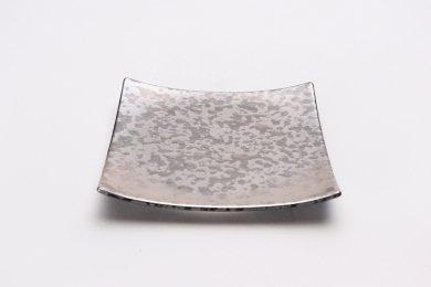 金善窯 正角菓子皿(小) ウロコ銀