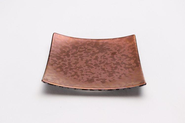 金善窯 正角菓子皿(小) ウロコ銅 画像メイン