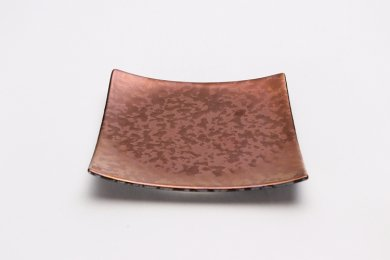 金善窯 正角菓子皿(小) ウロコ銅