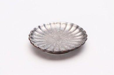 陶悦窯 黒柚子銀塗り 菊小皿
