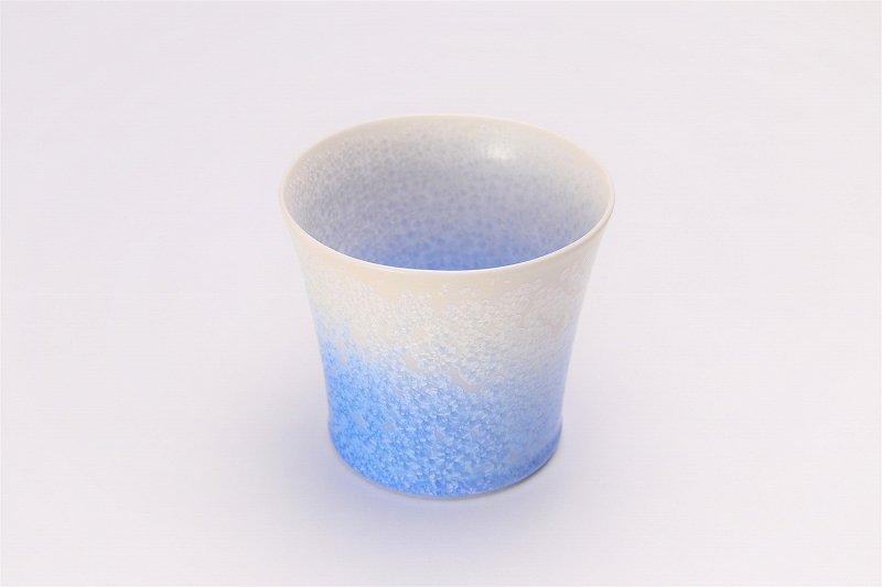 真右ェ門窯 手造り 藍染ロックカップ(たて) 木箱付 画像メイン