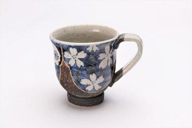 ☆洸彩窯 四季の花(青) マグカップ