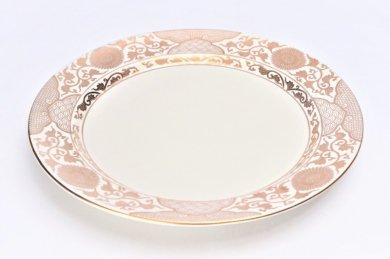 徳幸窯 クリーム釉金彩菊華紋ミート皿