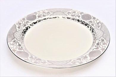 ☆徳幸窯 クリーム釉銀彩菊華紋ミート皿 在庫2枚