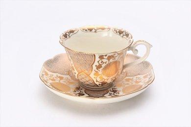 ☆徳幸窯 錦クリーム釉金彩菊華紋紅茶碗