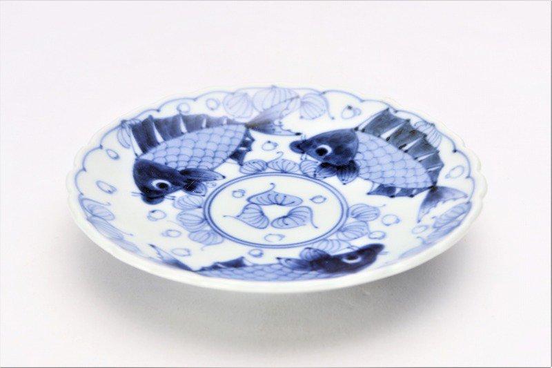 伯父山窯 魚紋桔梗渕6寸皿 画像メイン