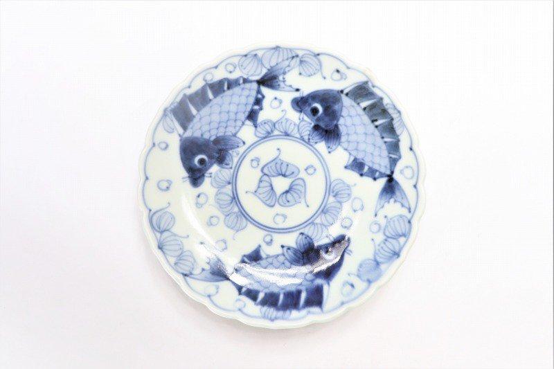 伯父山窯 魚紋桔梗渕6寸皿 画像サブ2