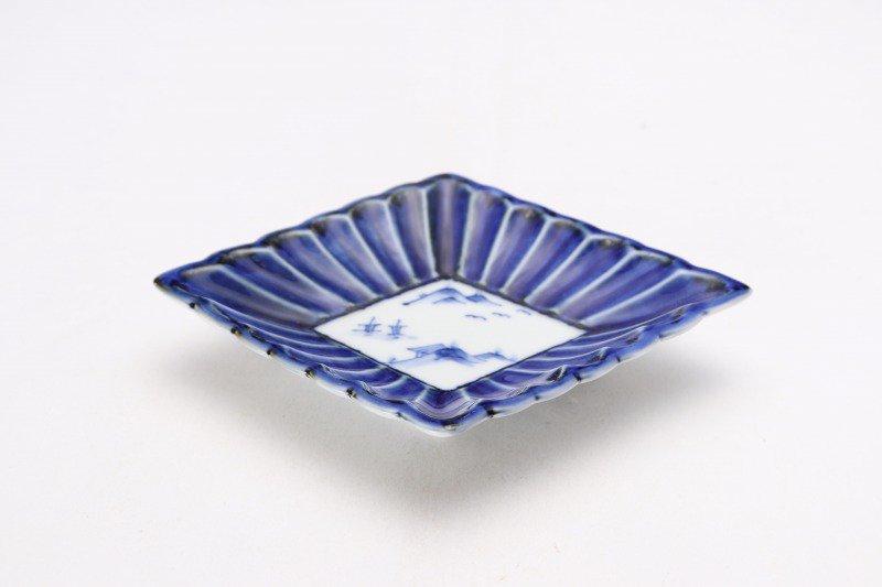 伯父山窯 渕濃山水菊割菱型小皿 画像メイン