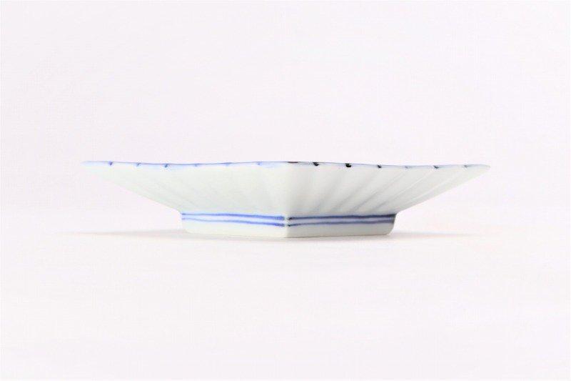 伯父山窯 渕濃山水菊割菱型小皿 画像サブ1