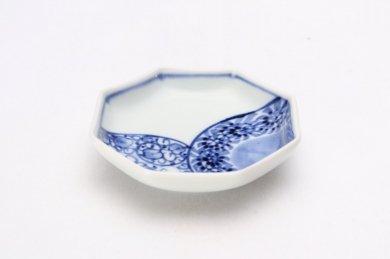 伯父山窯 花蛸唐草カルタ型小皿