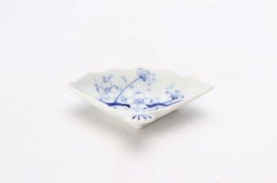 伯父山窯 染付桜扇型小皿