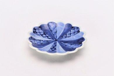 伯父山窯 地紋菊型手塩皿