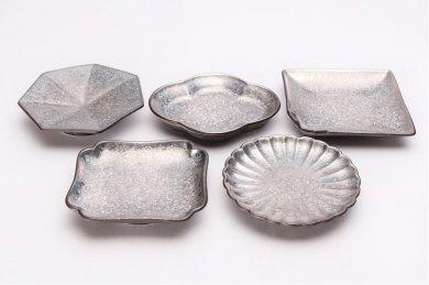 陶悦窯 黒柚子銀塗り手塩皿5枚揃い