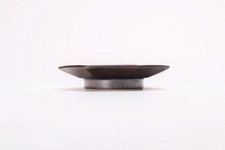 ☆陶悦窯 黒柚子銀塗り 七角小皿 画像サブ1