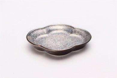 陶悦窯 黒柚子銀塗り 木瓜小皿