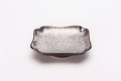 陶悦窯 黒柚子銀塗り 四方小皿