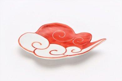 伝平窯 赤流雲 雲型銘々皿