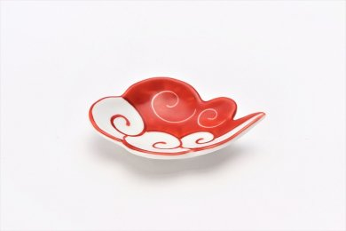 伝平窯 赤流雲 雲型豆小皿