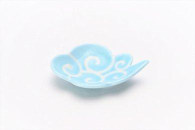 伝平窯 水色筋斗雲 雲型豆小皿