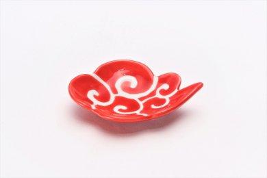 伝平窯 赤釉筋斗雲 雲型豆小皿