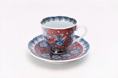 【受注生産】亮秀窯 朱濃花鳥 花型コーヒーカップ