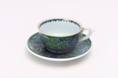 亮秀窯 緑彩唐花 紅茶碗