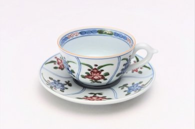 亮秀窯 花割 紅茶碗