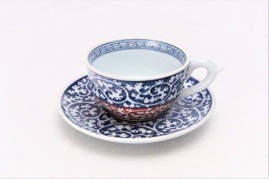 亮秀窯 紺朱唐草 紅茶碗