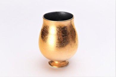 陶悦窯 黒柚子内晶外金塗り チューリップビアグラス