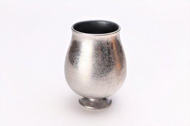 陶悦窯 黒柚子内晶外銀塗り チューリップビアグラス