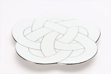 田清窯 太白プラチナ線梅むすび皿