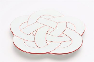 田清窯 太白赤線梅むすび皿