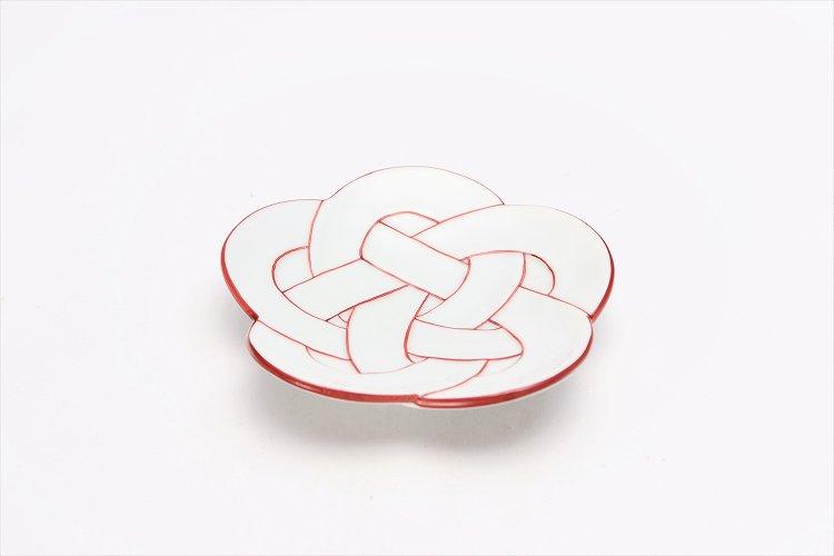 ☆田清窯 太白赤線梅むすび小皿 画像メイン