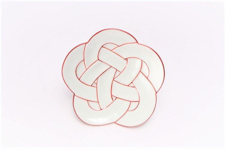 ☆田清窯 太白赤線梅むすび小皿 画像サブ2