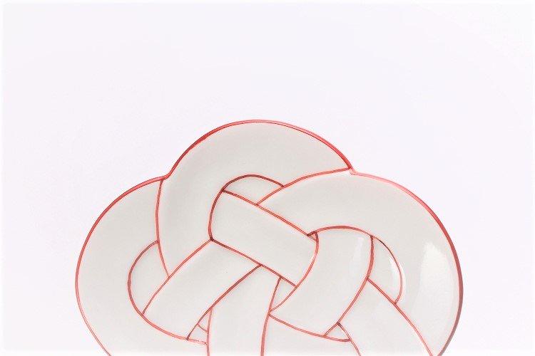 ☆田清窯 太白赤線梅むすび小皿 画像サブ3