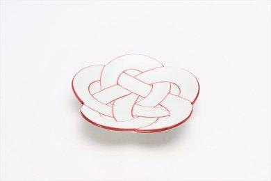 田清窯 太白赤線梅むすび小皿