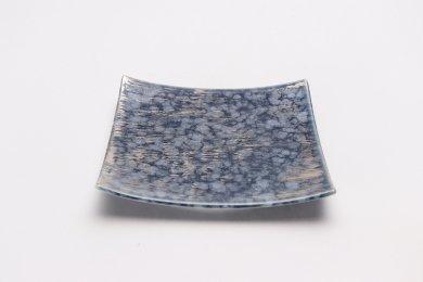 金善窯 正角菓子皿(小)渋ルリマット銀散