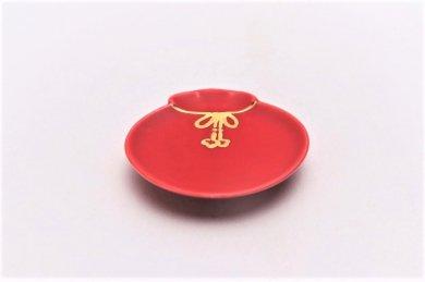 梶謙製磁 赤マット(金) 宝袋小皿