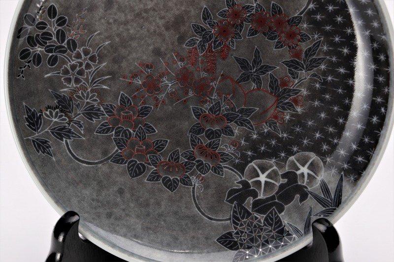 十四代今右衛門作 薄墨墨はじき花丸紋額皿 画像サブ2