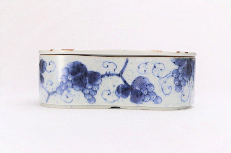 福泉窯 染付ぶどう 繭型蓋物 画像サブ1