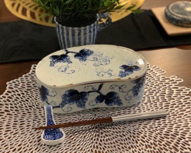 福泉窯 染付ぶどう 繭型蓋物 画像サブ14