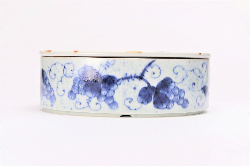 福泉窯 染付ぶどう 繭型蓋物 画像サブ2