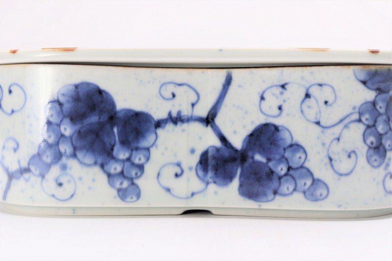 福泉窯 染付ぶどう 繭型蓋物 画像サブ3